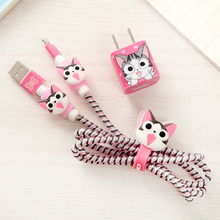 Good Gift Cute Cartoon USB Cable Earphone Protector Set With Cable Winder Stickers Spiral Cord Protector For iphone 5 6 6s 7 cartoon usb cable earphone protector set with earphone box cable winder stickers spiral cord protector for iphone 5s 6 6s 7