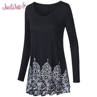 JasWell Autumn Spring Women S Long Blouse Shirt Scoop Neck Long Sleeve Casual Floral Printed Flared