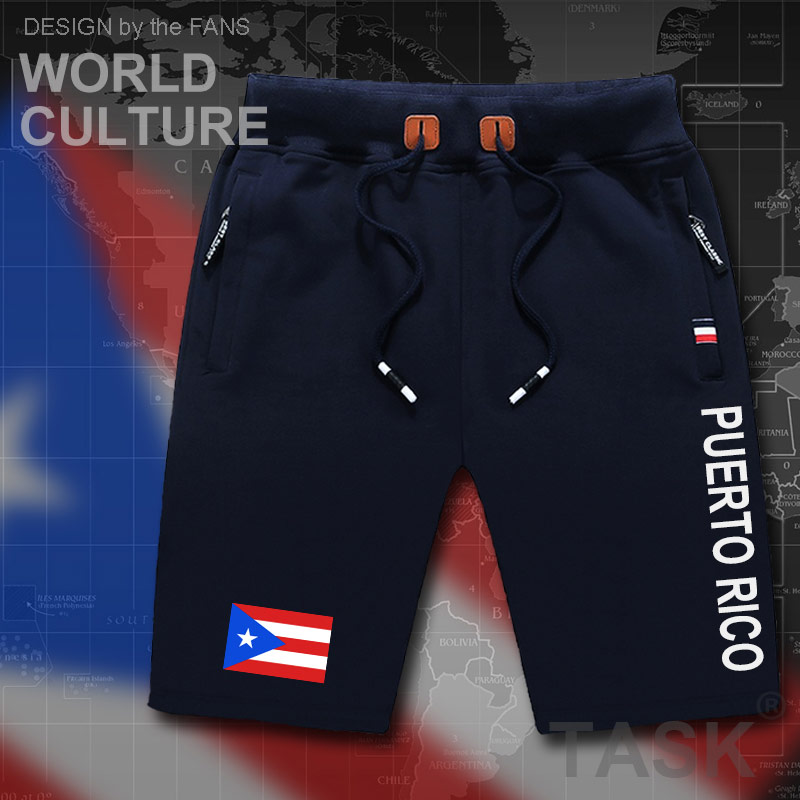 Puerto Rico mens shorts beach man men's board shorts flag workout zipper pocket sweat bodybuilding 2017 cotton NEW Rican PRI PR image