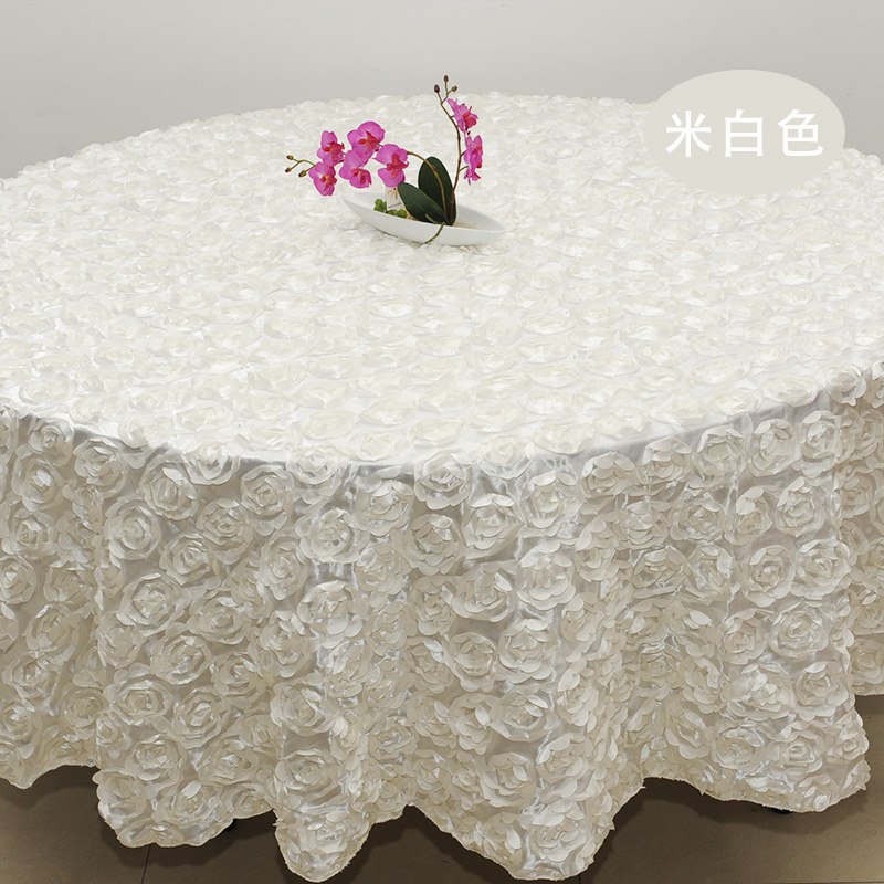 Purple 3D Rose Flower Tablecloths Wedding Round Table Cloth Overlays