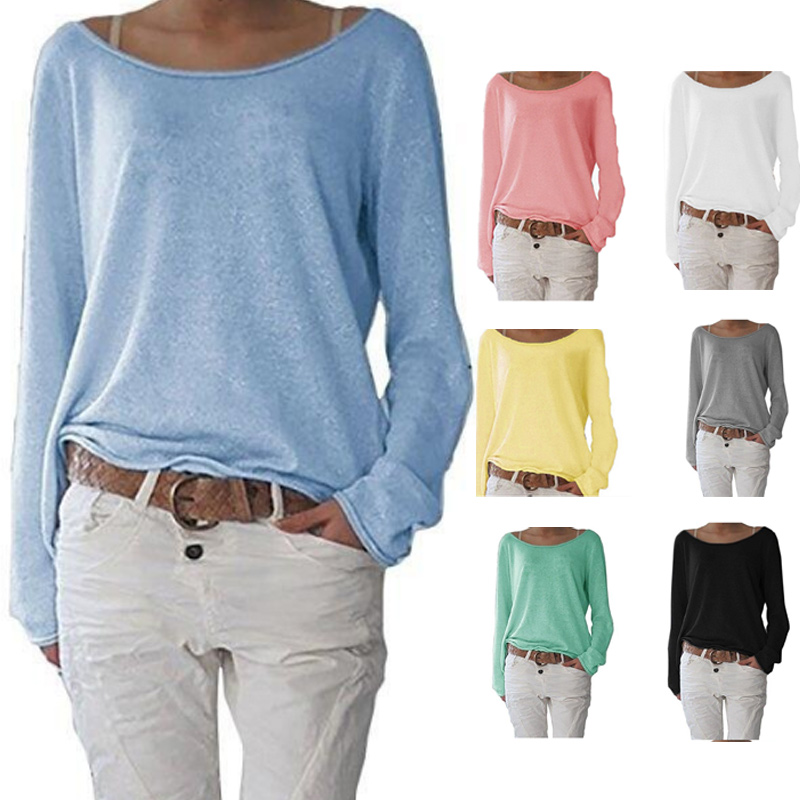 Women Autumn T-shirts Long Sleeves Big Round Neck Pullover Loose Slim Fit Tops NYZ Shop