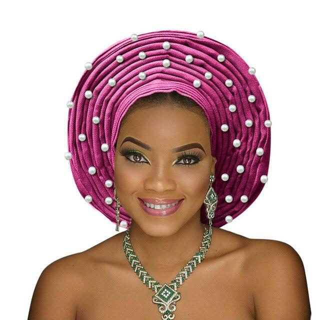 Bead head tự động bọc phi headtie nigeria truyền thống gele cho đám cưới phụ nữ gele head bọc