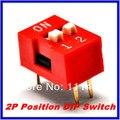 Frete Grátis 100 pcs 2 P 2 Posição do Interruptor DIP 2.54mm Afastamento 2 Row 4 Pin DIP Switch