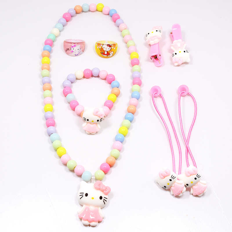 Hot Sale Children Baby Girl Hair Accessories Set Hello Kitty Jewelry Set Rings Hair Rope Necklace Bracelet Hairpin Party Gifts