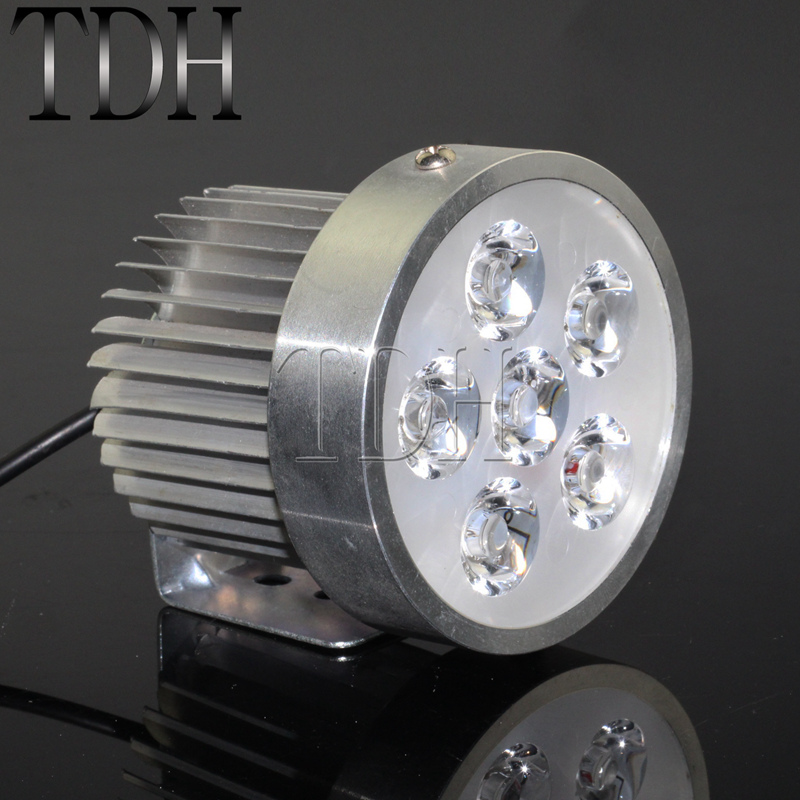 Sliver Motorcycle 18W 6 <font><b>LED</b></font> Headlight Work Driving Spot Light Fog Off-Road <font><b>12</b></font>-<font><b>80V</b></font> Universal For Honda Chopper Bobber Cafe Racer image