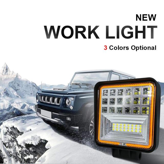 Foco cuadrado de 126W, luz de trabajo Led Cob, 12V, doble Color, blanco, 6000k, dorado, 3000K, impermeable para todoterreno, ATV, camión y motocicleta