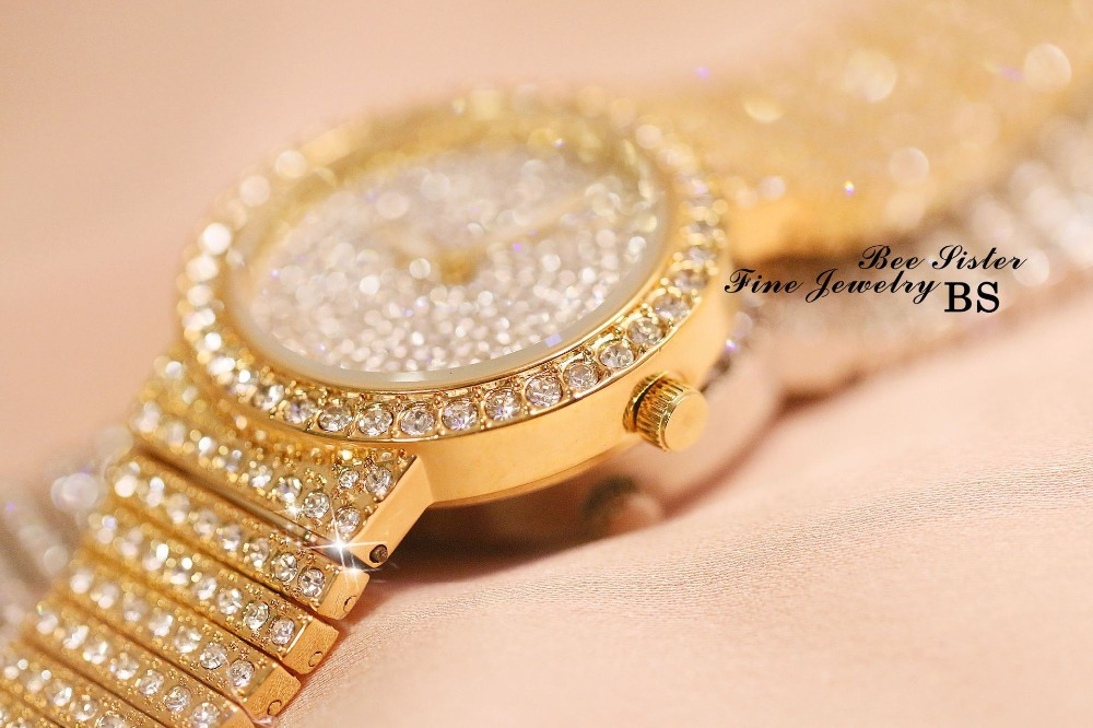 Image 2 - Women Luxury Watch Rose Gold Diamond Dress Watches Ladies Stainless Steel Fashion Female Rhinestone Bling Quartz Watch GiftWomens Watches   -