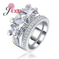 JEXXI Wedding Bridal Square Cut CZ Crystal Jewelry Rings Set 925 Sterling Silver Bijoux Women Accessories