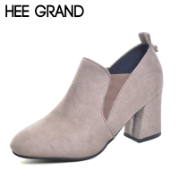 HEE GRAND Women S Shoes Chelsea Boots Fashion High Heel Boots Flock Autumn Shoes For Woman