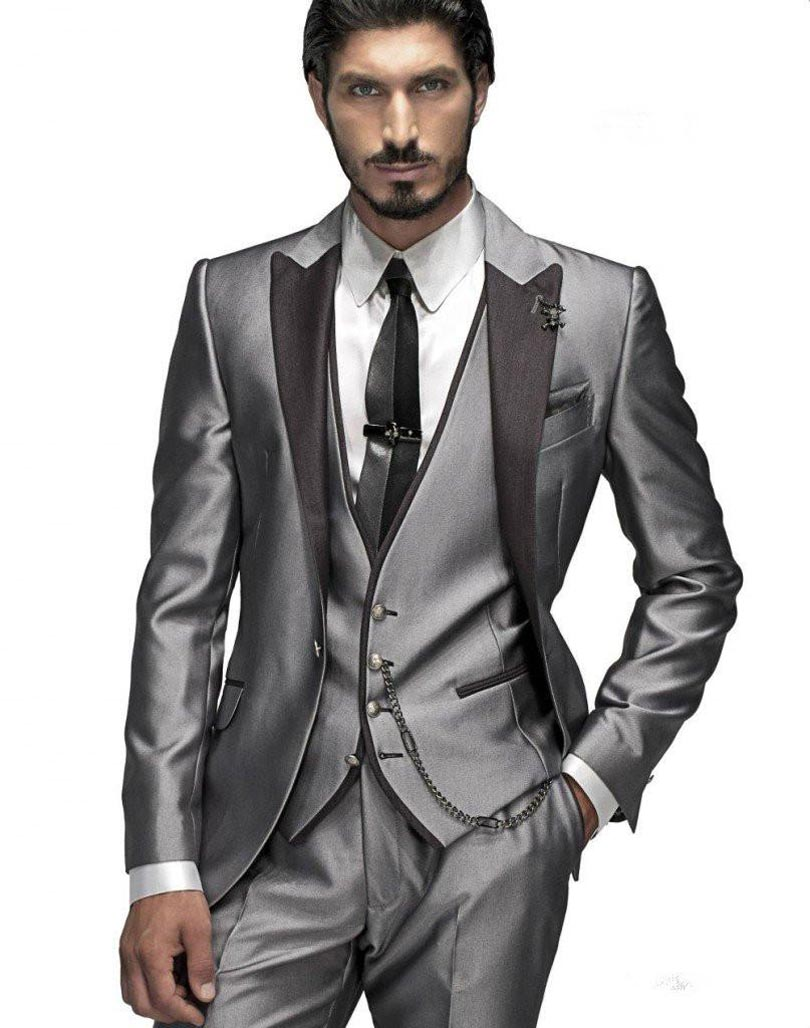 Hot Selling 2018 Terno Slim Fit Charcoal (Jacket+Pants+Vest+Tie+Handkerchief)Costume Homme Men Suits Formal Blazer Men Tuxedos