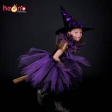Fioletowy czarny dziewczyny Witch Tutu sukienka z Witch Hat Handmade tiulu Halloween kostium karnawał Cosplay party zdjęcie sukienka tanie tanio Dzieci Mesh Polyester Spandex Regularne keenomommy Bez rękawów Suknia balowa Styl Europejski i amerykański Długość kolana