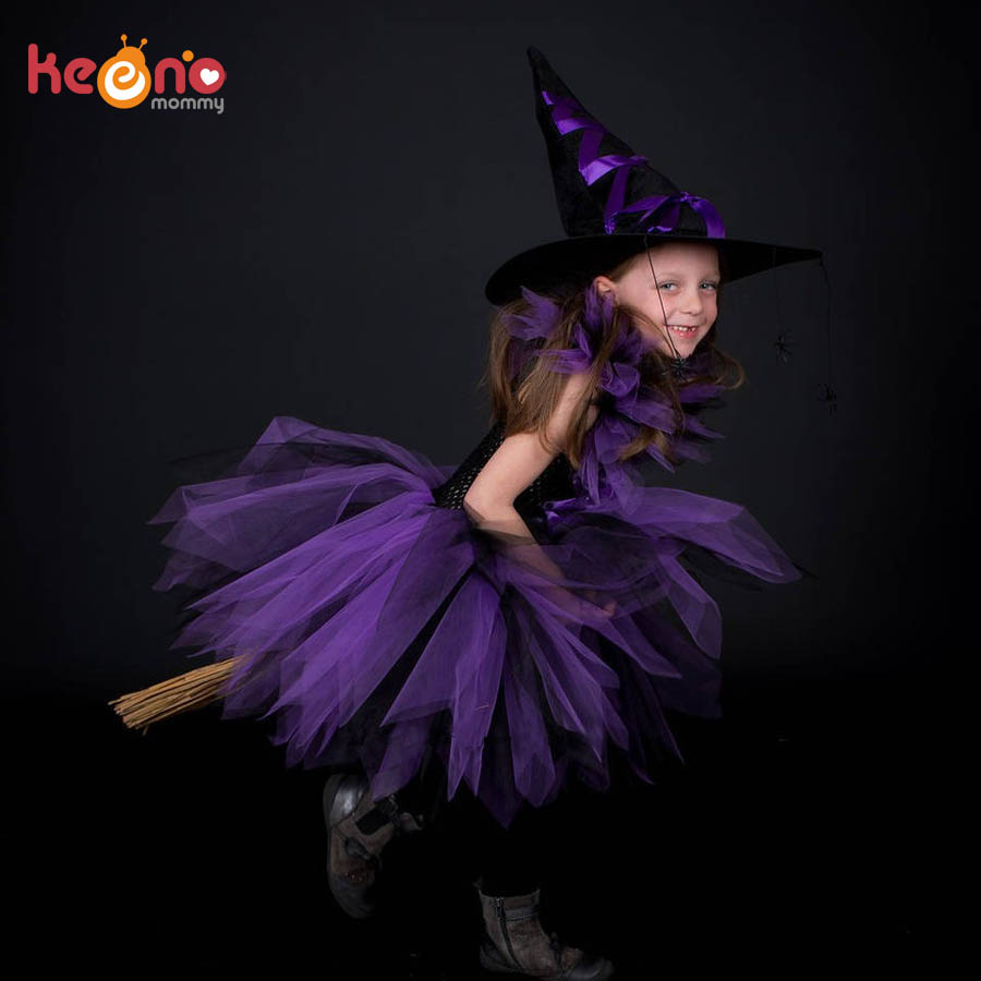 Púrpura negro niñas bruja tutú vestido con sombrero de bruja hecho a mano tul Halloween disfraz carnaval Cosplay fiesta foto vestido