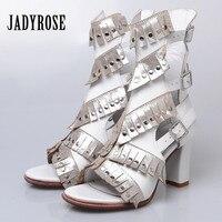 Jady роза белая Женские сандалии гладиаторы из натуральной кожи 8 см туфли на толстом высоком каблуке женщина бахромой Летняя обувь Sandalias Mujer