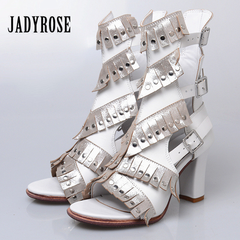 цена на Jady Rose White Women Gladiator Sandals Genuine Leather 8CM Chunky High Heel Shoes Woman Fringed Summer Boots Sandalias Mujer