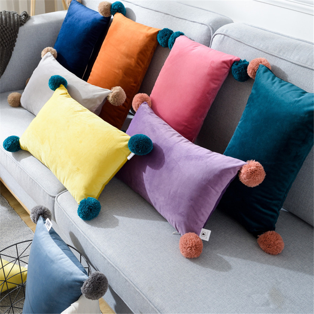 Office Waist Support Cushion <font><b>30x50</b></font> CM INS Fashion Solid Color Home Decor Plush <font><b>Pillow</b></font> <font><b>Case</b></font> For Sofa Car Seat with fur ball image
