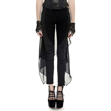 Gothic Elastic Waist Floral Pattern Mesh Forktail Trousers for Women Steampunk Black Casual Spliced Long Pants