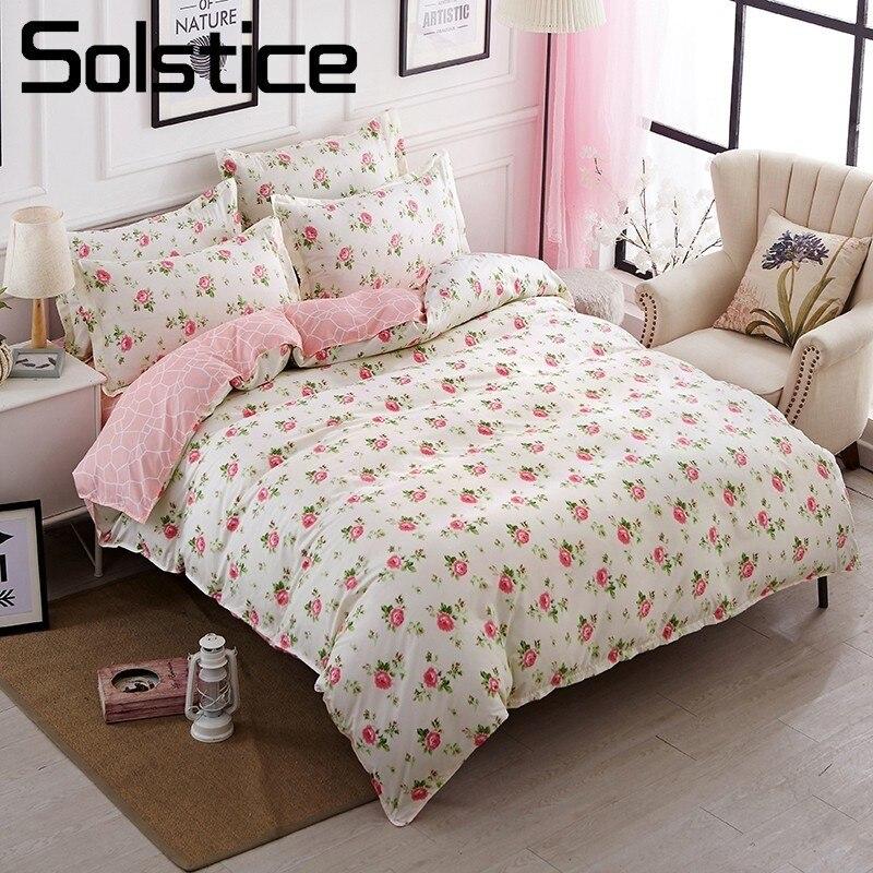 Solstice Home Textile Girls Kid Teen Bedding Set Rose Flowers Pink Duvet Quilt Cover Pillowcases Flat Sheet Queen Twin Bed Linen