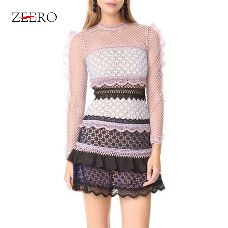 High Quality Lace Dress 2019 Spring Autumn Women Dress Fashion Runway Vintage Mini Long Sleeve Flower