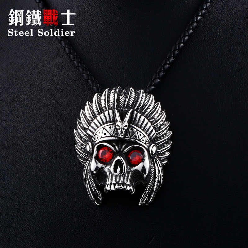 Steel soldier punk cheif design skull pendant necklace with red stone chain stainless steel biker huge heavy power jewelry