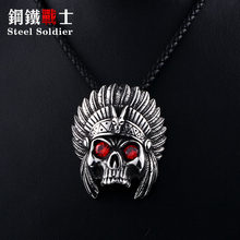 Steel soldier punk cheif design skull pendant necklace with red stone chain stainless steel biker huge heavy power jewelry(China)
