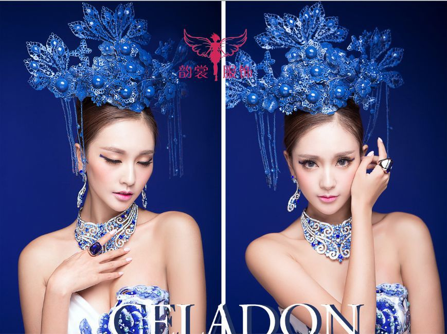 Blue And White Porcelain Traditional Chinese Style Wedding Costume For Bride And Groom + Gold And Blue Color Hair Tiaras