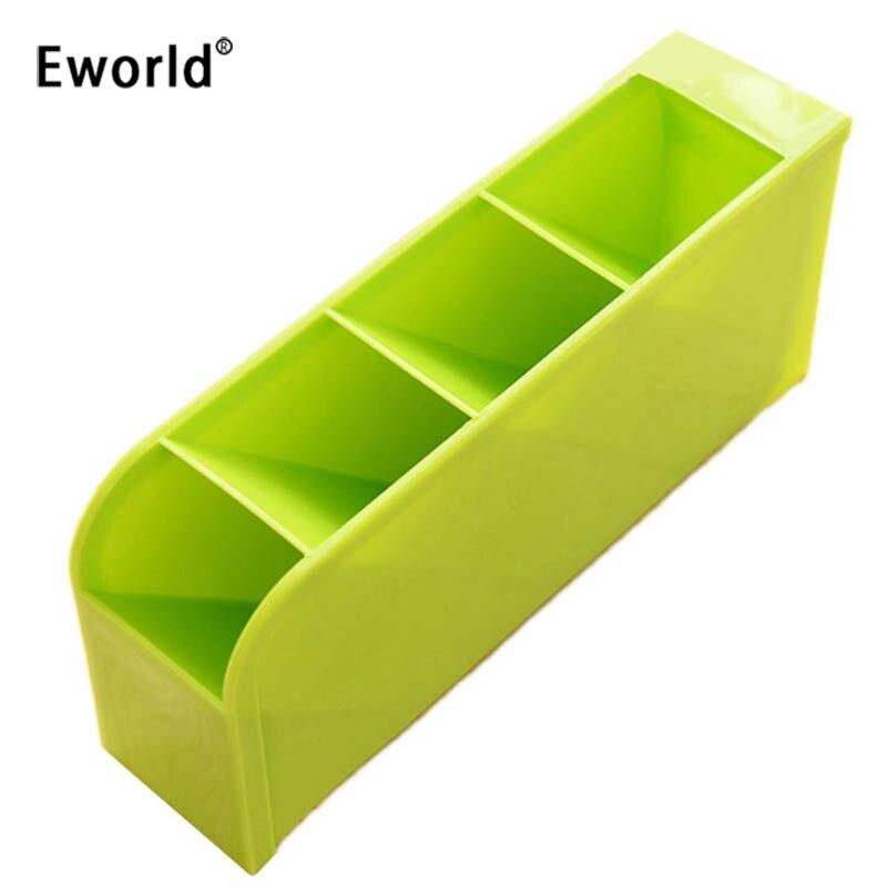 Eworld 2pcs/lot Plastic Office Desktop Storage Box Stationery Pen Pencil Holder Cosmetics Makeup Organizer Box & Bin