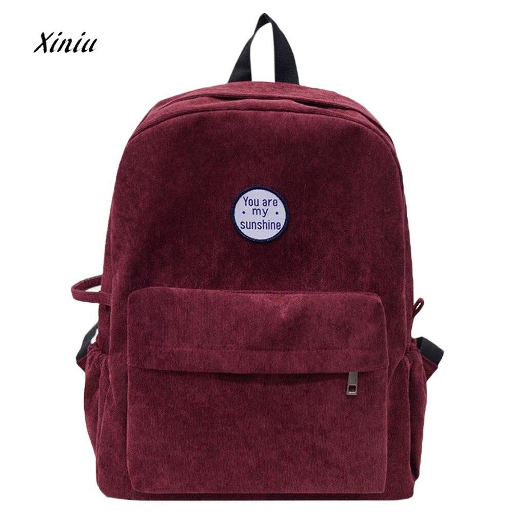 Women Backpacks You are my sunshine Letter School Bag Girls Preppy Corduroy Shoulder  Bookbags School Travel Backpack Bag 27eafa6df3