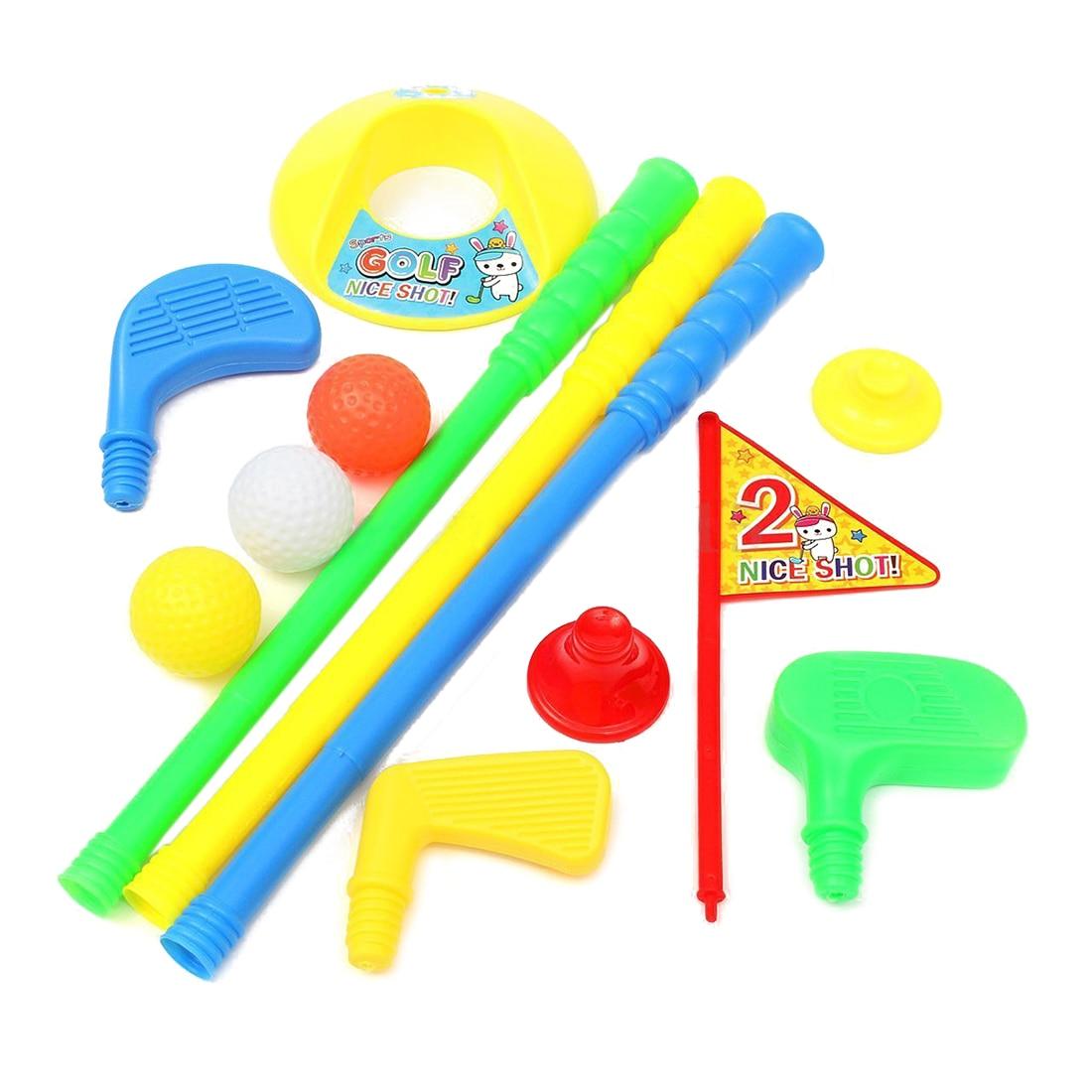 Golf Set Putter Plastic 3 Balls + 2 Tees + 3 golf Cue+ Golf Hole Kids Toy