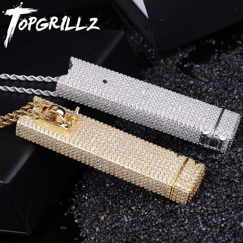 TOPGRILLZ Juul Case Iced Out Pendant Necklace With Tennis Chain AAA Bling Cubic Zircon Men's Hip hop Link Jewelry