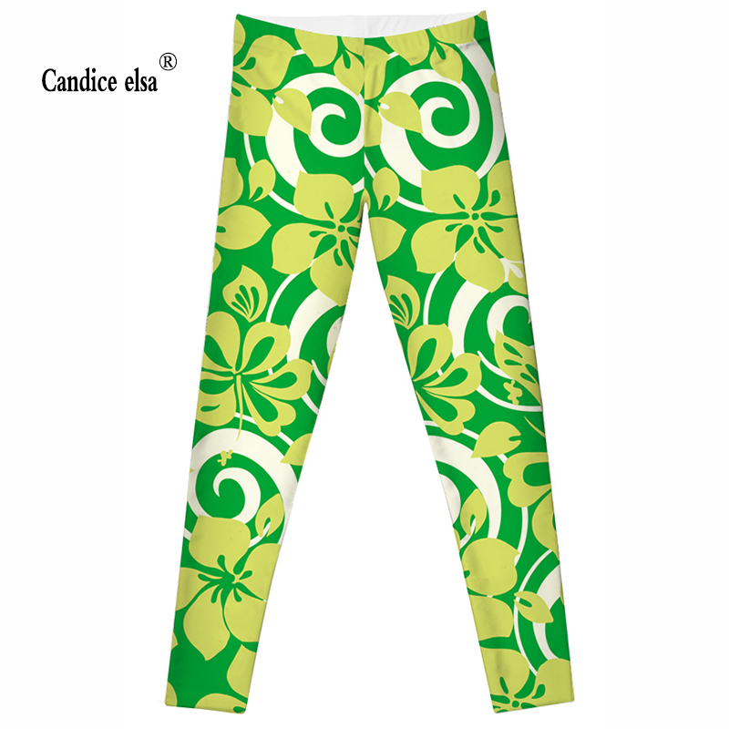 CANDICE ELSA women leggings workout legging fitness female pants elastic flower printed sexy trousers plus size in Leggings from Women 39 s Clothing