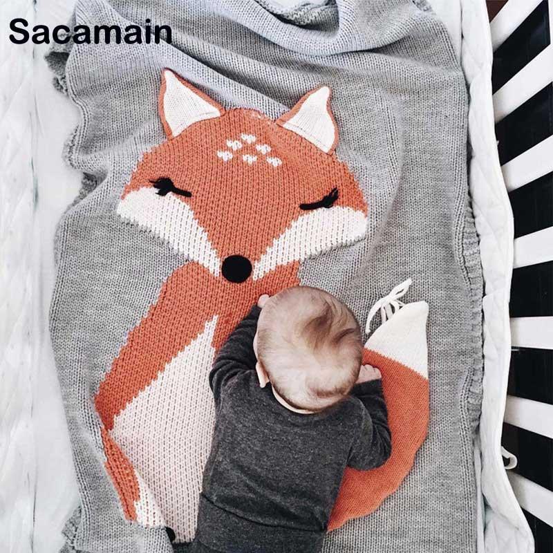 Infant Kids Unicorn Animal Soft Warm Knit Swaddle Kids Bath Towel Lovely Baby Bedding Props Photography Knitting Blanket Baby