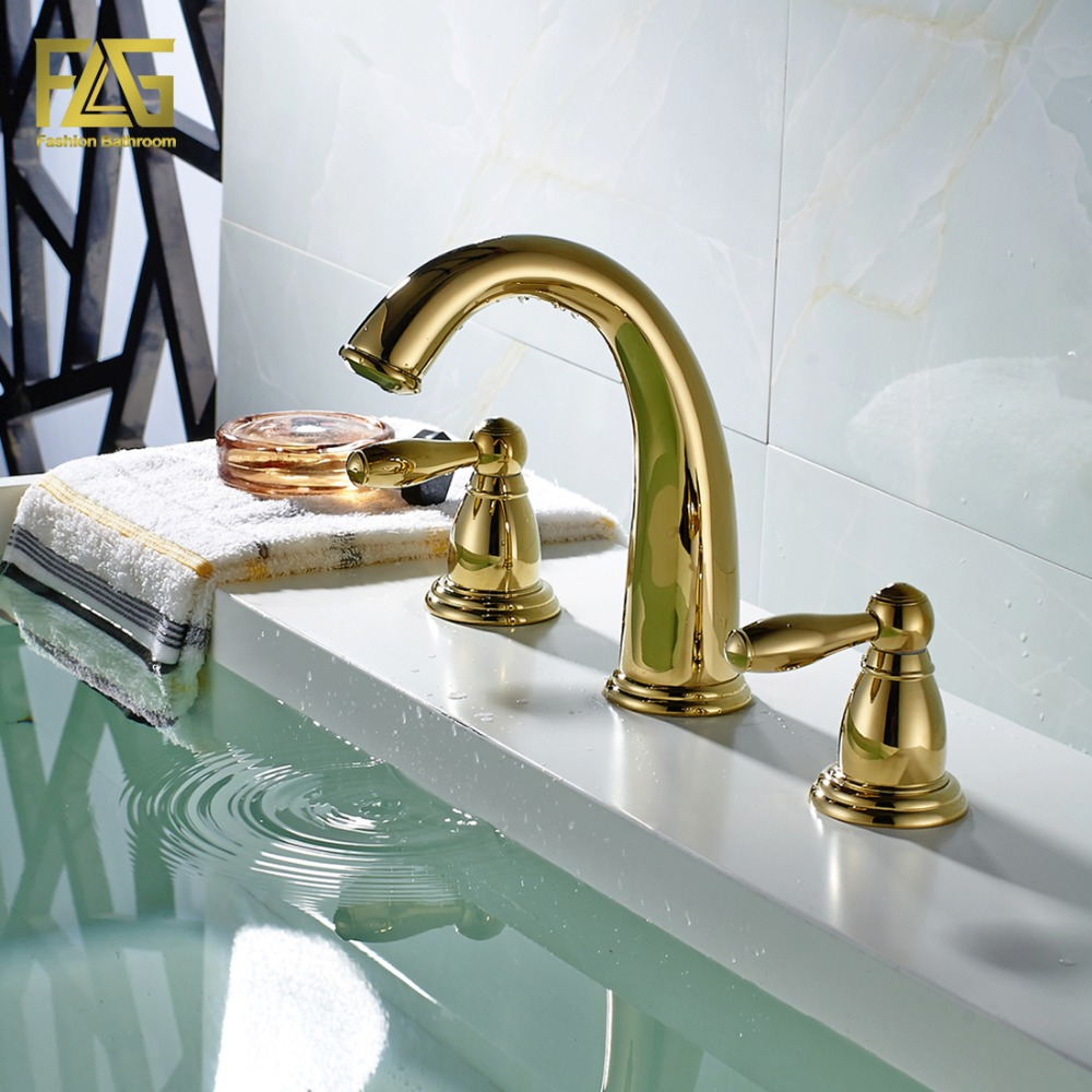 FLG Nordic Style Basin Faucet Gold Plated 3 Hole Bathroom Sink Faucets Deck Mounted Cold Hot Water Sink Faucet Mixer Tap 201-44G