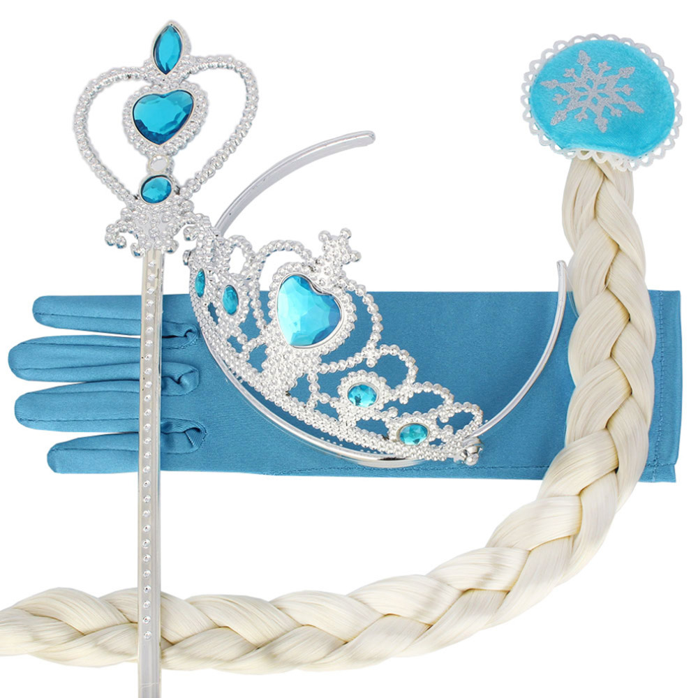 11 set Princess Elsa Anna Hair Accessories Set Crown Braid Wig Magic Wand Glove for Girls Party Cosplay Costume Drop Shipping lolita princess roll split cosplay costume wig 65cm chip on synthetic cos hair free shipping