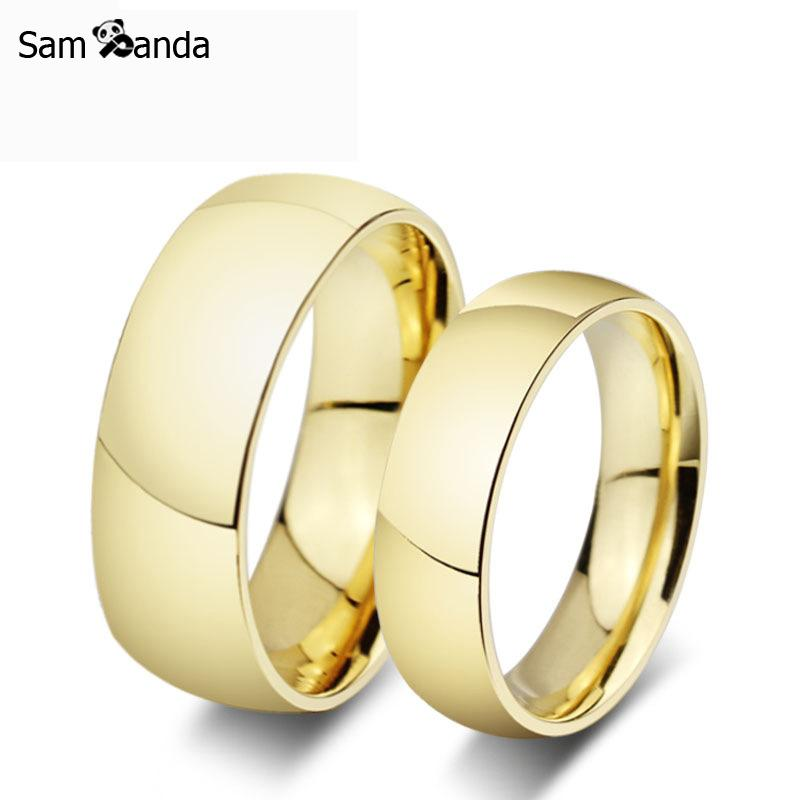 Gold Colour Pair Titanium Steel Ring Men Wedding Band Tungsten
