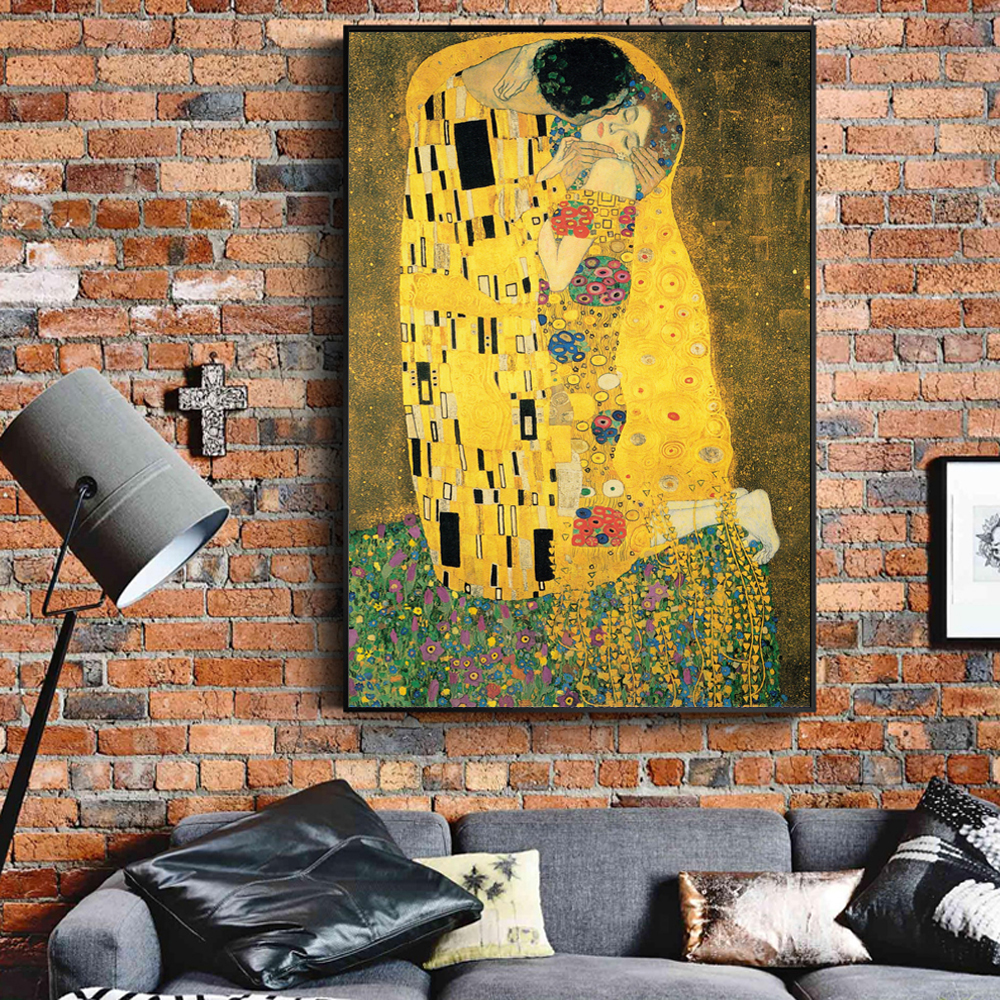 Gustav Klimt Kiss Paintings On The Wall Reproductions Classical Famous Art Canvas Pictures For Living Room Decor