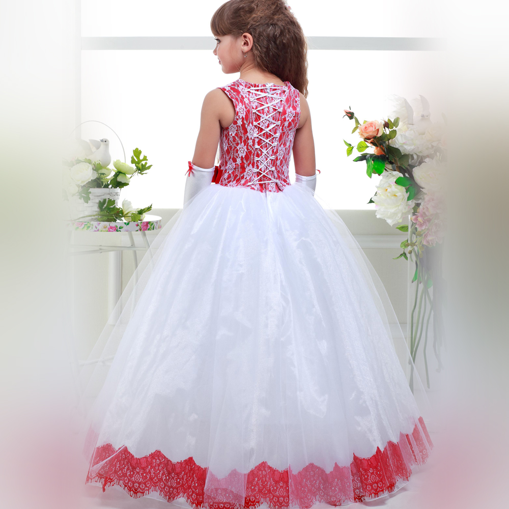 Rose Red Flower Girl Dresses O-Neck Ruffles Lace Up Ball Gown New Arrival First Communion Gowns Vestidos De Comunion for Wedding 63 rose de mai