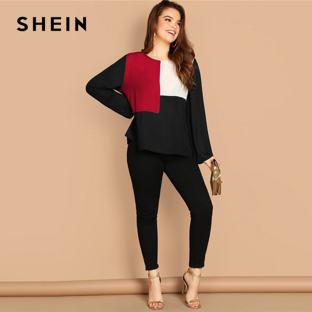 SHEIN Multicolor Keyhole Back Color-block Button Long Sleeve Top Plus Size Blouses Women 2019 Spring Round Neck Blouse 3