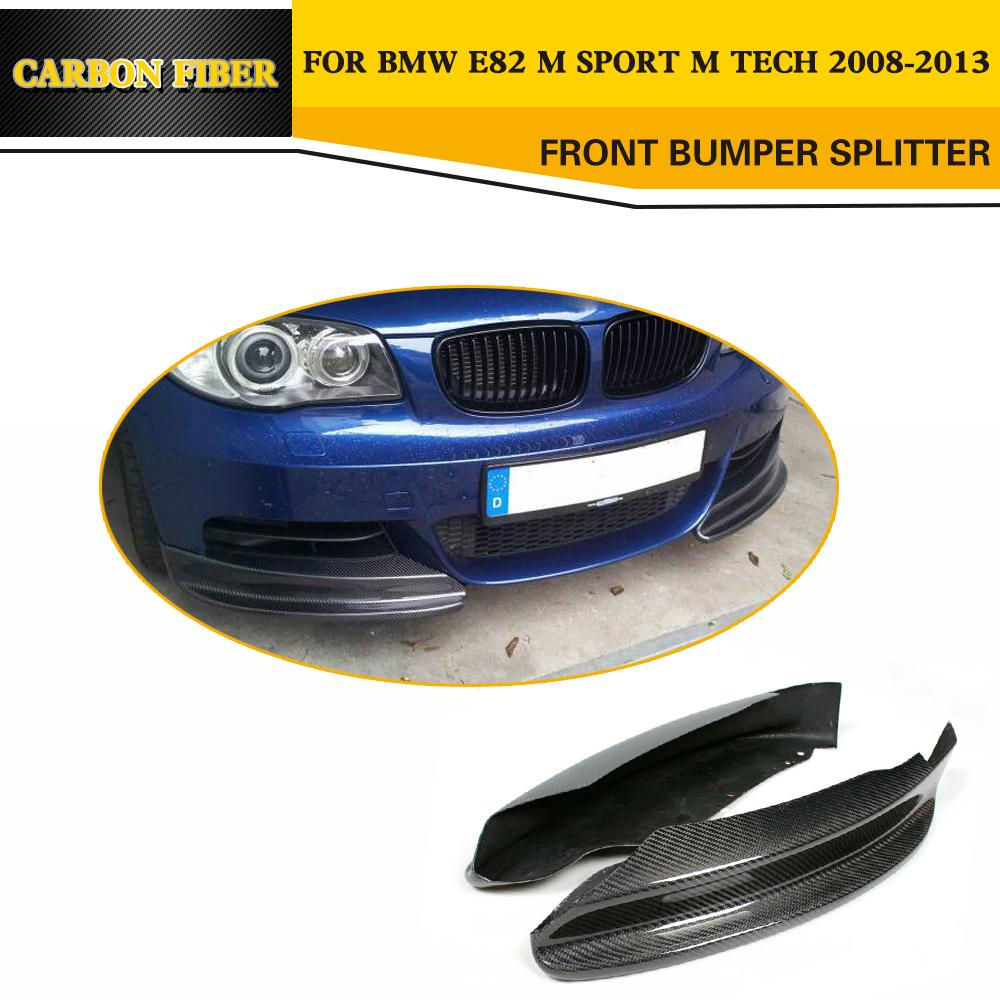 Carbon Fiber Bumper Splitter Flap Cupwings For <font><b>BMW</b></font> <font><b>E82</b></font> 128i <font><b>135i</b></font> <font><b>E82</b></font> M Sport Coupe 2-Door 2008-2011 image