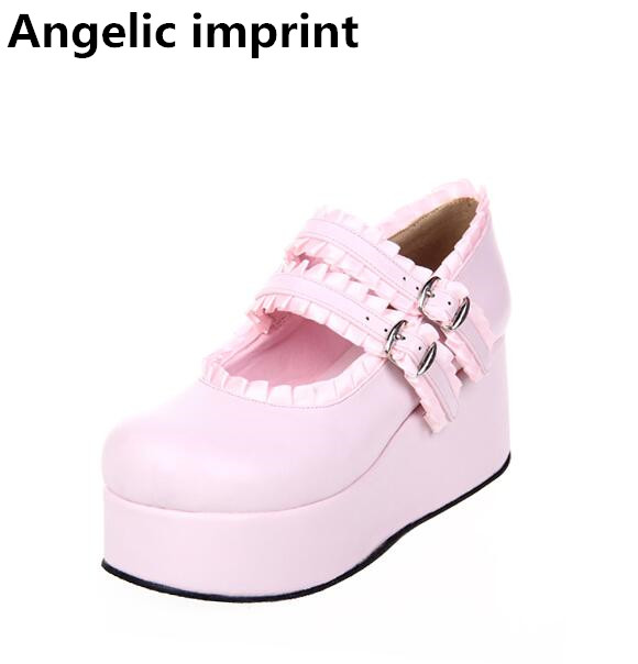 Angelic imprint woman mori girl lolita cosplay shoes lady high heels wedges Pumps women princess dress