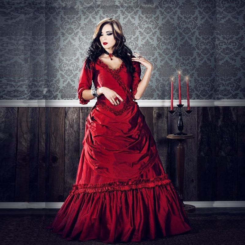 Black And White Gothic Wedding Dress Plus Size Satin: Victorian Gothic Wedding Dress Promotion-Shop For