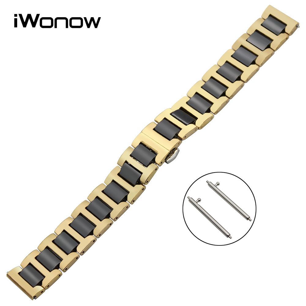 22mm Ceramic & Stainless Steel Watch Band Quick Release Strap for Samsung Gear S3 Classic Frontier Butterfly Buckle Wrist Belt купить