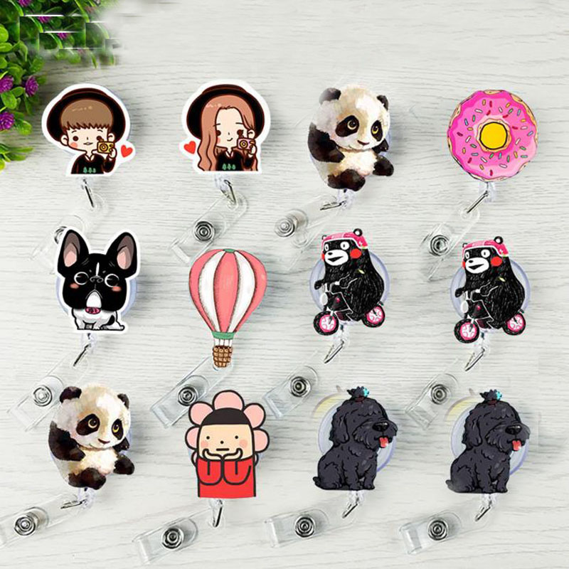 1 Pcs Bear Balloon Panda Dog Retractable Badge Reel Student Nurse Exhibiton ID Name Card Badge Holder Stationery Supplies