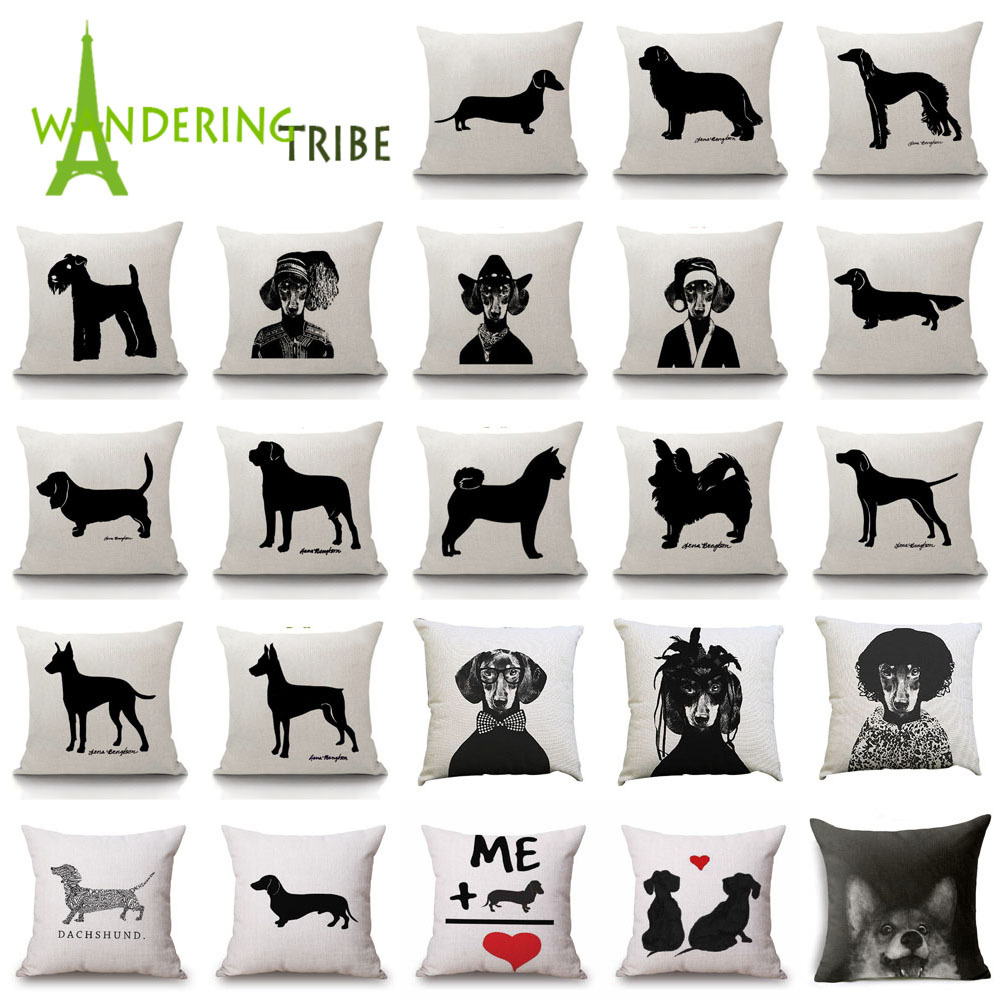 Christmas Festival Dachshund Cushion Cover 45x45cm Black And White Cat Sausage Dog Pillow Cases Kid Gift Bedroom Sofa Decoration