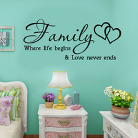 Family Where Life Begins Love Never End Heard Wall Sticker Living Room Home Decoration Accessories Wallpaper poster Wall Decor
