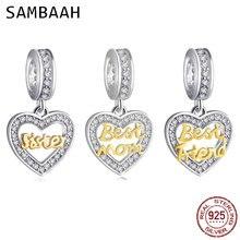 Sambaah 925 Sterling Silver Dangle Love Sister Best Mom Friend Heart Charm Beads for Original Pandora Family Bracelet