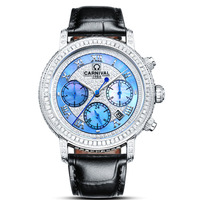 Luxury Carnival Brand Diamond Women'S Watch Japan Miyota 24 Jewels Mechanical Sapphire Leather Strap Waterproof Lady Clock