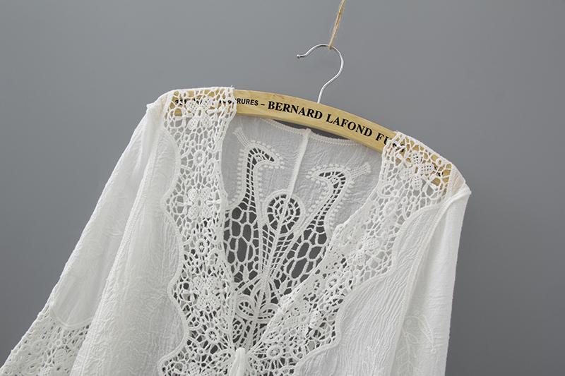 Hollow Out White Lace Blouse Kimono Summer 2019 Cotton Loose Woman Shirt Fashion Half Sleeve Kimono Cardigan Blouses Women 1806 5