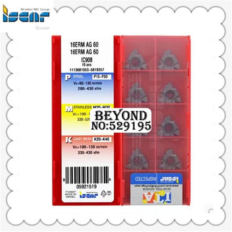 ISCAR  16ERM 16UN IC908  CNC carbide inserts 10Pcs
