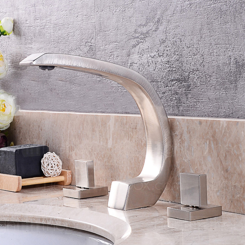 Deck Mounted Waterfall Spout  with Ceramic Valve  Dual Handles for Brushed Nickel Basin Bathroom  Sink  Faucet Mixer Tap new arrive dual square handles waterfall spout bathroom sink basin faucet brushed nickel deck mount