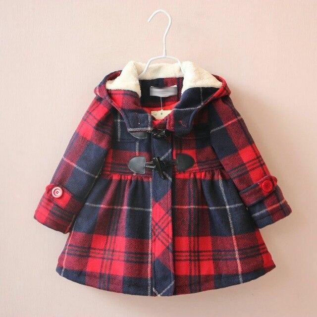 2016 зимой и осенью новый детская одежда смеси толщиной хлопок причинные длинные плед дети пледы шерстяные пальто для девочек